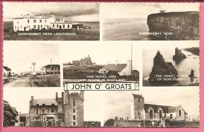 John O'Groats multiview 7-view, Caithness, Scotland postcard. Real Photo.