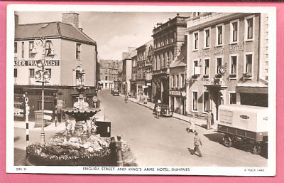 English Street and King's Arms Hotel, Dumfries Scotland postcard Real Photo Tuck