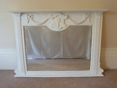 Large Antique Victorian Overmantle Bevelled & Shaped Glass Mirror & Frame