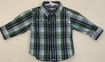 Old Navy Baby Boy 3-6M Button Down Shirt Green/Blue Plaid Long Sleeve Cotton EUC