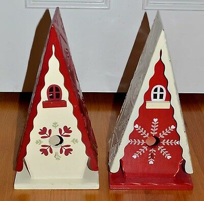 2003 TARGET Folk Art Wooden Hand Painted Pair of Holiday Christmas Birdhouses