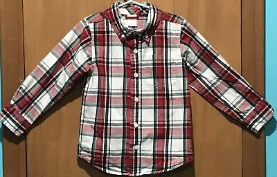 Gymboree Toddler Boy's Toddler 3/4 Shirt Button Down Long Sleeve Red/Green Plaid