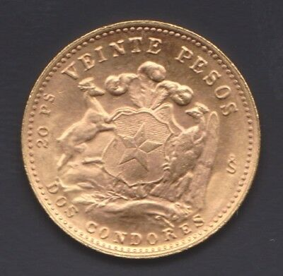 1964 Chile 20 Pesos Beautiful UNC .9000 Gold Coin, 4.0679 Grams