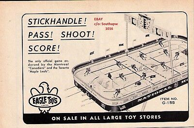 "1967 Eagle Toys ""Table Top"" Hockey Classic Hockey Game Print Advertisement"
