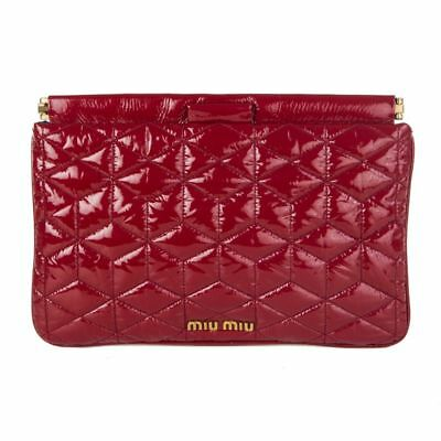 3a0009acdee 54882 auth MIU MIU red patent leather quilted Matelasse Frame Clutch Bag