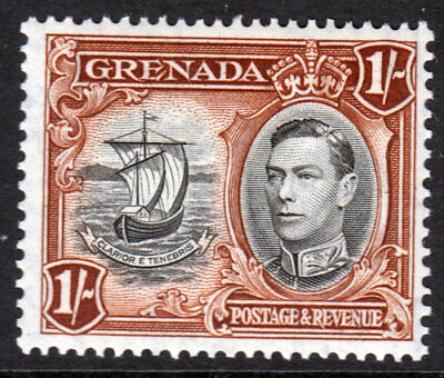 Grenada KGVI 1938 1/- 1s Black Brown SG160a Mint Never Hinged MNH UMM