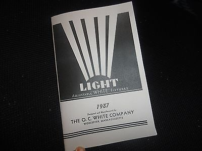 1937 OC White Lamp Catalog Adjustable Light Machine Industrial Drafting Antique