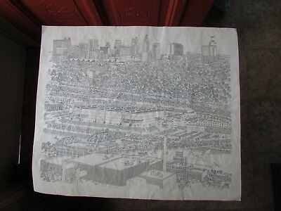 Cool 1970-80s NORMAN BAXTER SIGNED Line DRAWING KANSAS CITY, MO Downtown SKYLINE