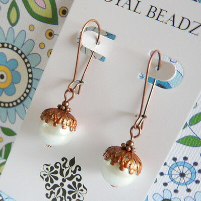 Victorian Vintage BoHo Antique Style Copper White Pearl Acorn Fall Drop Earrings