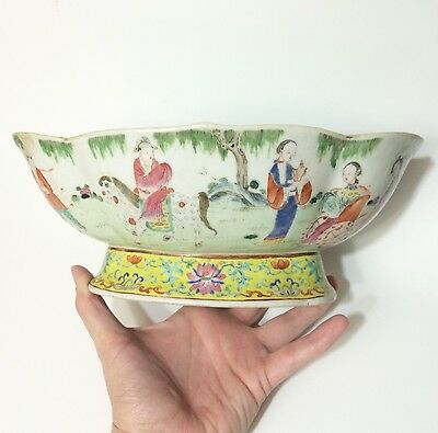 Jiaqing Famille Rose Oval Lobed Bowl Signed 1800 Chinese Qing Dynasty Old Repair