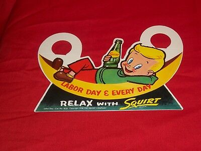 1958 SQUIRT SODA POP Bottle Topper Sign / Cool Unused Squirt Boy Sign Ad !!!!!