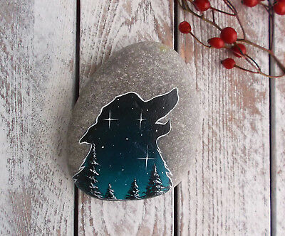 Hand painted Wolf Silhouette Rock ~ OOAK starry blue moon Howling Wolf stone art