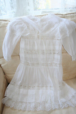 Exquisite Victorian Girls White Lawn Dress Finest Lace & Pintucks.