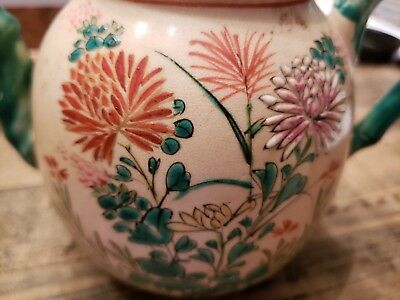 Antique Japanese Kinkozan Tea Pot Handpainted Floral Design - Flawless Condition