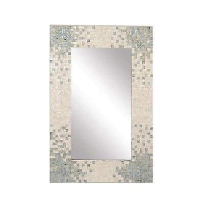 Tropical Coastal Wall Mounted Mirror Modern Gray Blue White