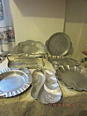 7 Vintage Hand Wrought Aluminum Hammered Serving trays Small & Large  5 Marked