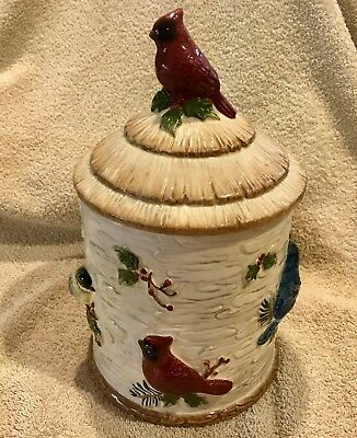 Bird Cookie Jar, Cardinal/Blue Jay/Finch/Wren Sonoma Knollwood Exc. Condition