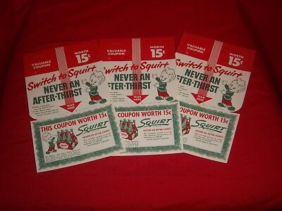 1952 SQUIRT BOY SIGNS - 3 Soda Pop Bottle Topper Signs / Unused NOS Ads -  LOOK
