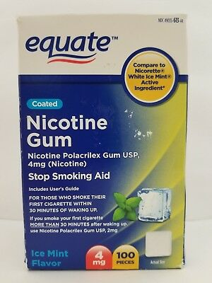 Equate Coated Nicotine Gum 4 mg Stop Smoking Aid Ice Mint 100 Pieces 11/19+