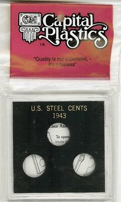 Capital Holder For Steel Cents of 1943 Black Acrylic Plastic High Quality Case