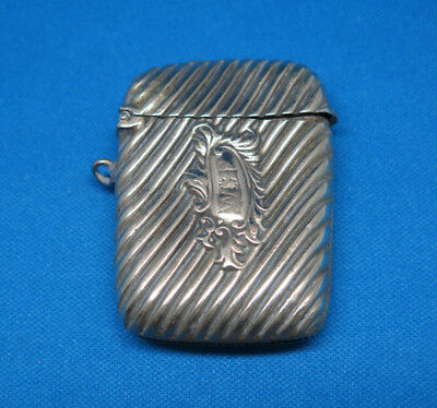 Diagonally fluted match safe, nickel plated, c. 1895