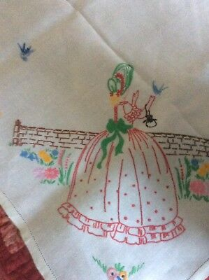 Pretty,Vintage,Hand Embroidered,Lady Feeding Birds ,Tablecloth,120cmx 125cm ..GC