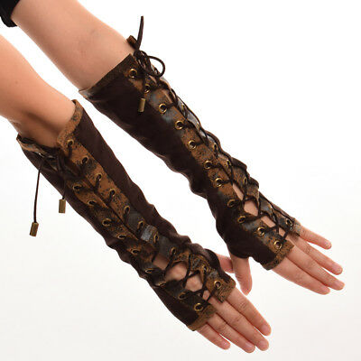 Lolita Steampunk Victorian Tie-Up Mittens Armband Vintage Cosplay Retro Gloves