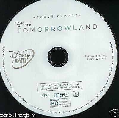 Tomorrowland (DVD, 2015) DISC ONLY