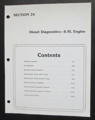 1980's Ford 6.9L Diesel Diagnostics Factory Troubleshooting & Tuneup Procedures