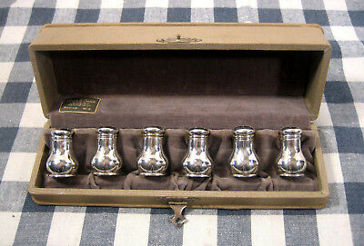 Sterling Silver Salt & Pepper Shakers Louis E. Shaw Racine Wis.Vtg Cased Set Six