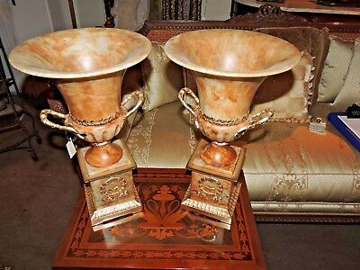 European Style Pair of Alabaster & Bronze Urns From Italy