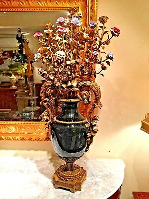 Antique French Style Pair Of Porcelain and Bronze Candelabras with Flowers