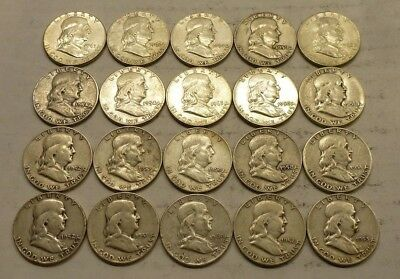 Roll of (20) Franklin Half Dollars, Mixed Dates, Circulated, 90% Silver Coins #2