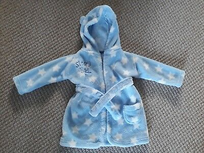 Baby Boy Clothes - Blue Soft Fleece Dressing gown - 6-12 Months
