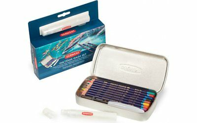 Derwent Inktense Wash Set - Watercolour Pencils, Brush & Spritzer Set