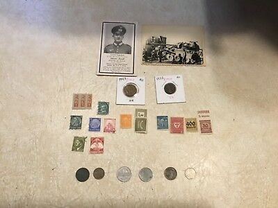 WW2 KGB SEIZED SHERMAN TANK Photo & PANZER Death Card Swastika Italy 1943 1933