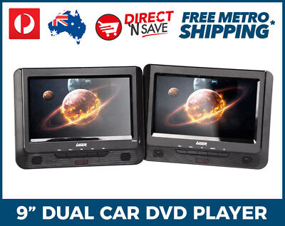 "9"" Dual Screen In-Car Portable DVD Player USB SD Laser Remote Control Headphones"