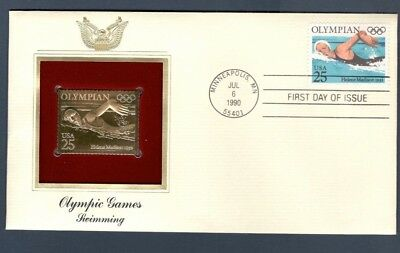 2500 Olympic Games: Swimming 22kt FDC Gold Replica
