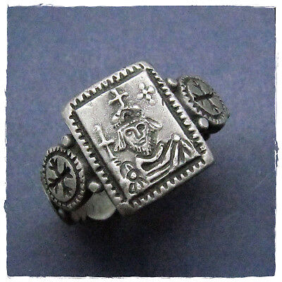 ** BYZANTINE EMPEROR PHOCAS ** ancient  SILVER BYZANTINE RING !!!