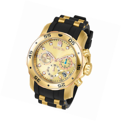 Sporty 18k Gold Ion-Plated Stainless Steel Wrist Watch for Men