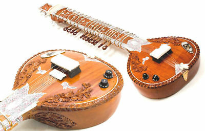 Calcutta Pro Acoustic-Electric Carved Cedar Wood Indian Sitar + Extras