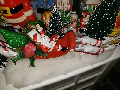 Vintage Plastic Santa w Whip Snowman Candycane Tree Sleigh And Reindeer as is..