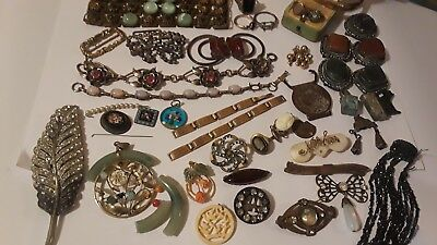Antique Victorian jewelry lot-sterling 10k gold &filled Parts or repair