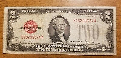 1928 G $2 Bill Red Seal Note Currency United States Dollar 28299624
