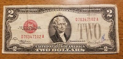 1928 F $2 Bill Red Seal Note Currency United States Dollar 76347102