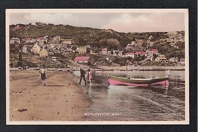 L@@K  Runswick Bay Nr Whitby 1940's? Postcard ~ Boat ~ LOVELY COLOURS