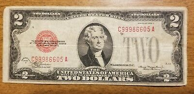 1928 D $2 Bill Red Seal Note Currency United States Dollar 99986605