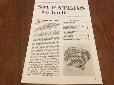 Sweaters to Knit - 1959 Woman's Day Patterns