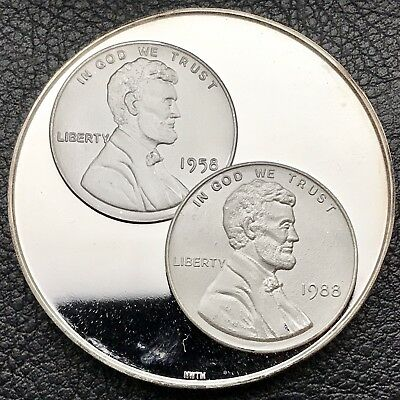 1958 & 1988 Penny NorthWest Territorial Mint 1 oz .999 Silver Coin (3752)