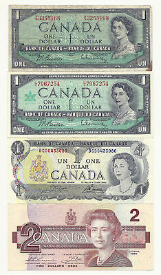Lot of 4 x CANADA BANK NOTES (54, 67 & 73 one dollar and 1986 two dollar)